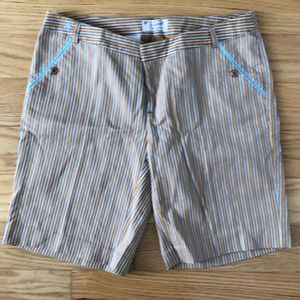 NWOT, penguin, striped shorts, yellow/teal, size 6